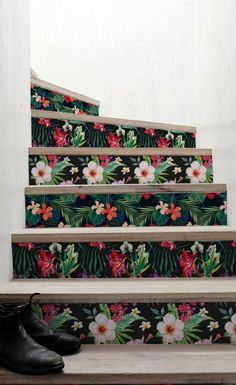 Adhésifs pour escalier motifs floraux vintage