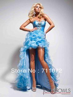 Long Short Prom Dresses | Sexy Designer Front Short Long Back Long Train Organza Ruffles Beaded ...