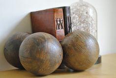 Ancien jeu de pétanque en bois