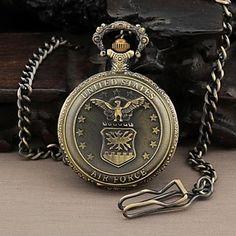 4d46ebdfbcc Rodada dos homens Dial United States Air Force Militar do Analog de quartzo  relógio de bolso