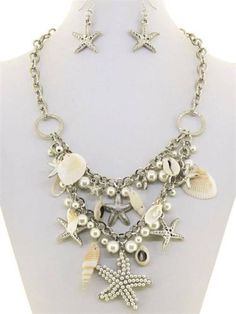 Chunky Pearl Shell Silver Chain Necklace Earring Set Fashion Costume Jewelry | eBay