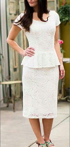 Modest dresses - lace overlay peplum dress - Apostolic Clothing
