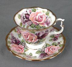Vintage Royal Albert Tea Cup and Saucer Summer Bounty Series Amethyst
