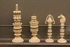 indian chess pieces | Maryhill Museum of Art Photo: Carved ivory chess pieces from India.