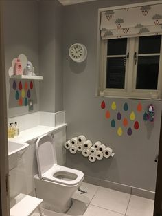 Cloud bathroom. Dulux chic shadow. Cloud shelf. Cloud toilet roll holder. Scion cloud blind fabric. Children's bathroom