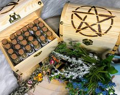 Witchcraft Kit, Witchcraft starter kit, Witchcraft for beginners, wicca, wiccan Witchcraft Herbs, Witch Herbs, Witchcraft For Beginners, Coconut Milk Powder, Witchcraft Supplies, Witch Spell, Bath Melts, 1 Rose, Wooden Chest