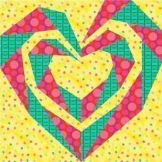 Twisting Spiral Heart paper pieced quilt block pattern