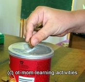Hand exercises with inexpensive materials. OT mom website.