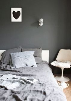 Linen duvet cover 220 x 240 cm - Dark grey #linens #stonewashed #greys #bedrooms #musthave