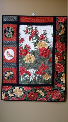 Art Quilt Floral Asian Wallhanging Embellished Art by djwquilts