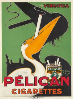 Pélican Cigarettes. ca. 1930 - by Poster Auctions International, Inc