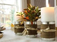 25 Cool DIY Rustic Candles And Candleholders - Shelterness Diy Candle Vases, Burlap Candles, Rustic Candles, Rustic Candle Holders, Candles And Candleholders, Fall Candles, Rustic Table, Tin Can Crafts, Fall Crafts