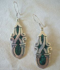 BIG Vintage TAXCO MEXICO 925 Sterling Silver MALACHITE Mosaic Inlay EARRINGS