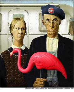 "This parody of Grant Wood's ""American Gothic"" is part of my ARTstreams series, which inserts classic Airstream trailers into famous art from throughout history.By Brad Cornelius"