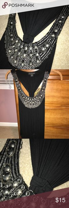 Black Beaded Dress Black dress with beaded collar. Please look at the last photo, some of the lines of beading are offset! Dresses
