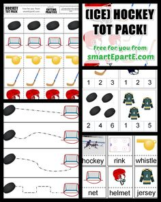 Download this FREE ice hockey tot pack! 13 activities! Good for tot school and preschool.
