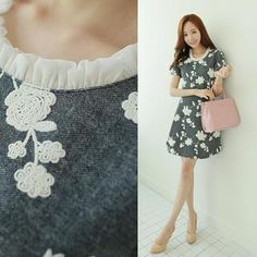 Buy 'CLICK – Frilled-Neckline Floral Embroidered Dress' with Free International Shipping at YesStyle.com. Browse and shop for thousands of Asian fashion items from South Korea and more!