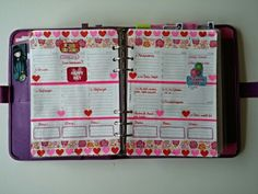DECO:   Decoration week 23 - 2015 in my A5 Saffiano Raspberry Filofax.  This week my granddaughter becomes 3 years old!  So we have a party!