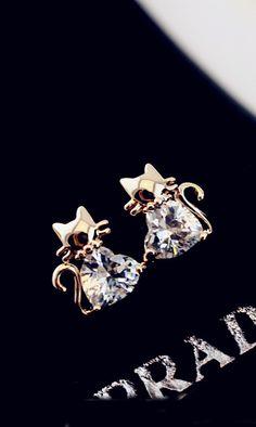 18K gold-plated big zircon cute cat earrings catty cute