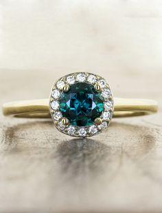 Unique Emerald Engagement ring by Ken & Dana Design