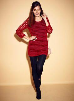 Barbara Hulanicki vibrant red tape knit jumper