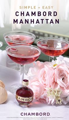 Say hello to your new fave sip for spring! Thanks to this recipe for a Chambord Manhattan and a lovely fruit garnish youll be ready to host your girlfriends all season long. Now thats a simple and easy cocktail we can raise a glass to! Chambord Cocktails, Fruity Cocktails, Easy Cocktails, Cocktail Drinks, Cocktail Recipes, Drink Recipes, Martinis, Bourbon Drinks, Classic Cocktails
