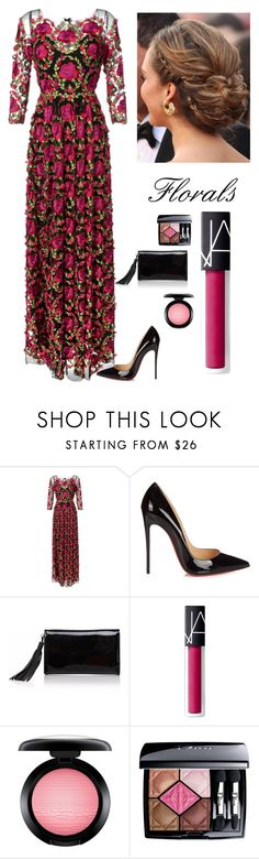 """""""Floral Beauty"""" by kotnourka ❤ liked on Polyvore featuring Notte by Marchesa, Christian Louboutin, Joanna Maxham, NARS Cosmetics, MAC Cosmetics and Christian Dior"""