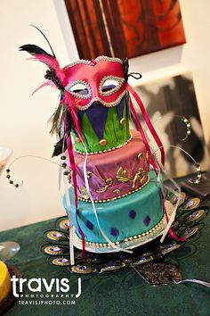 Masquerade Theme Wedding Cake, Travis J Photography, Colorado