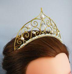 Wedding Tiara Bridal Headband bridal headpiece, gold tiara, wedding crown, pearl tiara, statement tiara bridal hair piece gemstone wedding by SelkieCrafts on Etsy