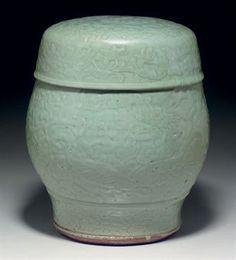 Lot A Longquan celadon drum-shaped garden seat, Ming dynasty, century; Ceramic Stool, Ceramic Boxes, Ceramic Pottery, Ceramic Art, Monochrome, Chinese Artwork, Celadon, Korean Art, Chinese Ceramics