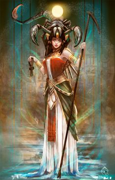 Serqet (Selket, Serket, Selqet, Selkit, Selkis) was an ancient Egyptian scorpion goddess. Egyptian Goddess Costume, Egyptian Queen, Egyptian Mythology, Ancient Egyptian Art, Ancient Aliens, Ancient Greece, Ancient History, Art Scorpio, Legends And Myths