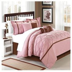 Chic Home Vermont Rose King 8 Piece Comforter Bed In A Bag Set ($100) ❤ liked on Polyvore featuring home, bed & bath, bedding, pink, pink rose bedding, king size bedding, king size shams, king bed in a bag and king bedding