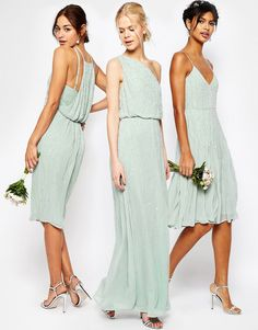 Mint green sequin and embellished bridesmaid dresses