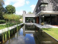 Moderne tuin met vij