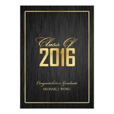 Elegant Modern Gold Class of 2016 Graduation Card