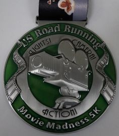 "US Road Running Movie Madness 5K. 3.5"" finisher medal and race bib - $16.99. Post your time after you run/walk and check the results to see how you placed. Here is the link for the event: https://usroadrunning.com/index.php?club_id=2729"