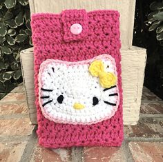 Crochet Hello Kitty kids book bag