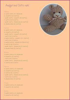 EntreHilos y algo más: COMO HACER UN AMIGURUMI Crochet Animals, Diy And Crafts, My Love, How To Make, Crocheting, Bears, Tela, Scrappy Quilts, Molde
