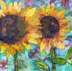 boho decor Sunflower ART print on Canvas Modern by SchulmanArts