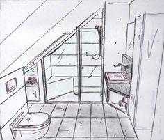 Badgestalten: Duschen unter der Schräge