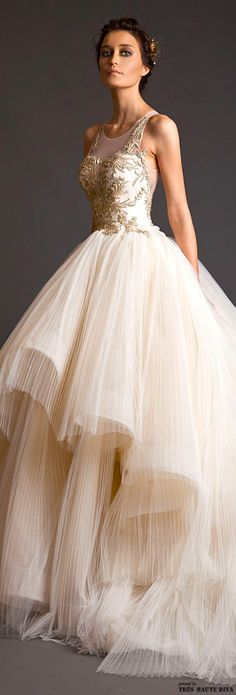#Krikor Jabotian Couture S/S 2014 ... Take a look at the website for 5 ideal appearances using most of these appealing white dress check http://topfashiondesigners.us/irresistible-accessories-for-all-women/