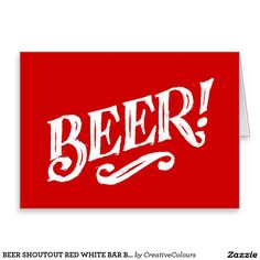 BEER SHOUTOUT RED WHITE BAR BEVERAGE ALCOHOLIC LOG CARD