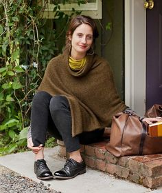 The Easy Folded Poncho is incredibly easy to knit, easy to finish, and easy to throw on. Knit in a rustic tweed or a luscious alpaca for everyday wear!