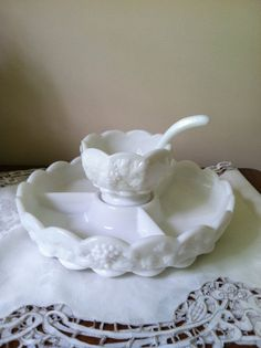 Westmoreland Paneled Grape Milk Glass Complete by FrannieBee, $35.00