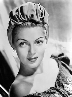 9b8cf265b53265 Lana Turner, in a turban style hat, early Can they bring turbans back into  the limeliight for our bad hair days?