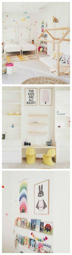 Chambre enfant gaie et colorée en tons pastels | Colourful shared room