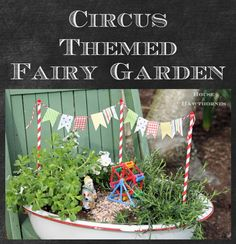 Whats better than a fairy garden? A circus themed fairy garden!