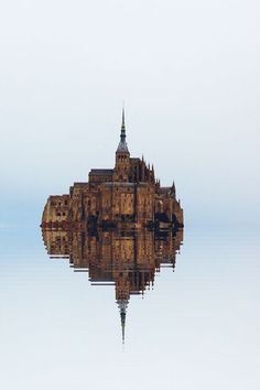 High tide, Mont St. Michel, France