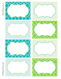 Printable Labels or Buffet Cards Blue and Green. $3.95, via Etsy.
