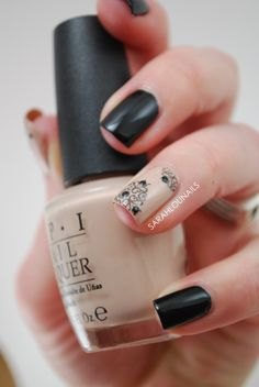 Opi Black and Beige Nail Art with Design on Ring Finger. A Must Have Design!
